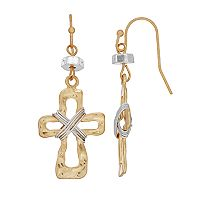 Believe In Two Tone Wire Cross Nickel Free Drop Earrings