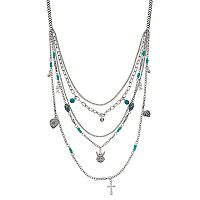 Believe In Angel & Cross Multi Strand Necklace