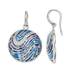 Sterling Silver Mosaic Shell Drop Earrings