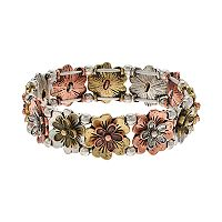 Believe In Tri Tone Flower Stretch Bracelet