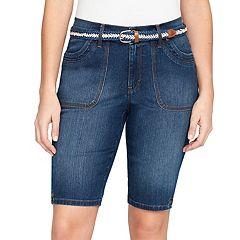 Women's Gloria Vanderbilt Jamie Belted Bermuda Jean Shorts