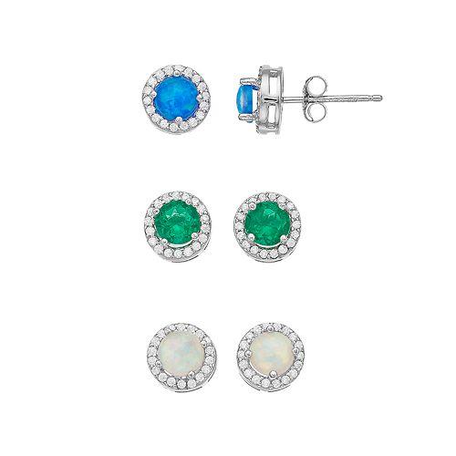 3-pair Sterling Silver Lab-Created Gemstone Stud Earring Set