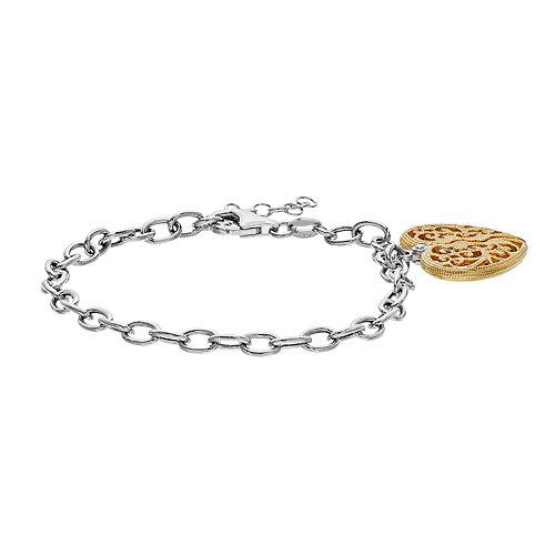 Two Tone Sterling Silver Heart Charm Bracelet