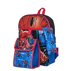 Kids Marvel Spider-Man Backpack, Cinch Sack, Lunch Bag, Zip Pouch & Water Bottle Set