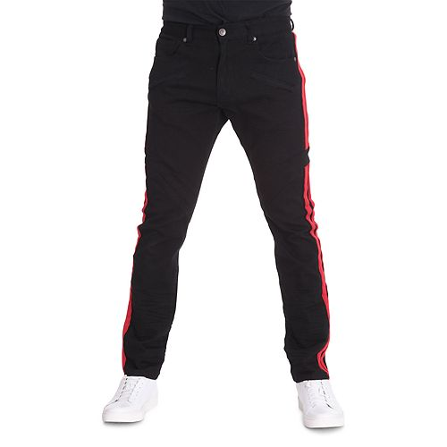 Men's True Luck Double-Stripe Skinny Moto Jeans