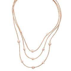 Rose Gold Tone Beaded Multi Strand Necklace