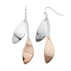 Two Tone Double Petal Nickel Free Drop Earrings