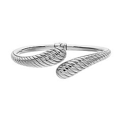 Sterling Silver Textured Hinged Bypass Bangle Bracelet