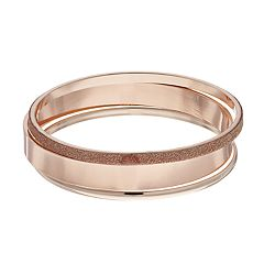 Rose Gold Tone Glittery Bangle Bracelet Set