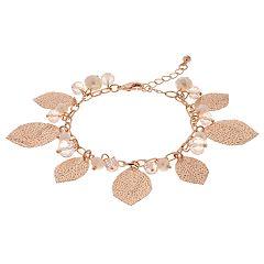 Rose Gold Tone Leaf Charm Bracelet
