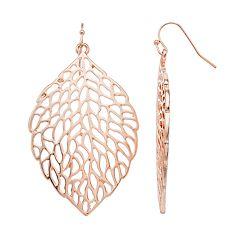 Textured Nickel Free Leaf Drop Earrings