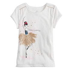 Girls 4-12 SONOMA Goods for Life™ Shirred-Shoulder Graphic Tee