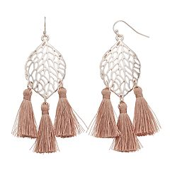 Openwork Leaf Tassel Nickel Free Drop Earrings