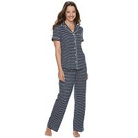 Women's Croft & Barrow® Printed Shirt & Pants Pajama Set