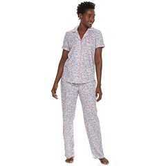 Women's Croft & Barrow® Printed Shirt & Pants Pajama Set