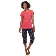 Women's Croft & Barrow® Textured Tee & Capris Pajama Set