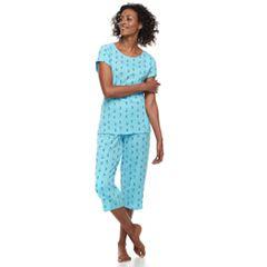 Women's Croft & Barrow® Printed Tee & Capris Pajama Set