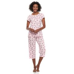 Women's Croft & Barrow® Printed Tee & Capris Pajama Set