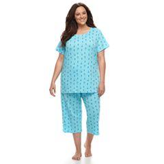 Plus Size Croft & Barrow® Printed Tee & Capris Pajama Set