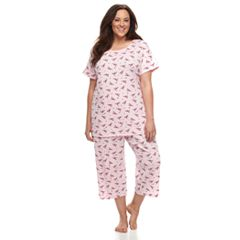Plus Size Croft & Barrow® Printed Tee & Capris Pajama Set