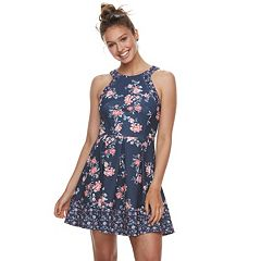 Juniors  Rewind Textured Skater Dress. Navy Print cc9da7bce19
