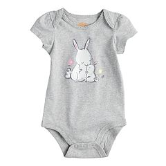 Baby Girl Jumping Beans® Glittery Bunny Graphic Softest Bodysuit