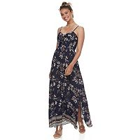 Juniors' Rewind Tie-Front Maxi Dress