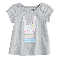 Baby Girl Jumping Beans® Glittery Bunny Graphic Swing Tee