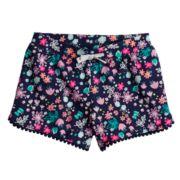 Toddler Girl Jumping Beans® Printed Pom-Pom Trim Slubbed Shorts