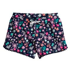 Toddler Girl Jumping Beans® Printed Pom-Pom Trim Slubbed Shorts