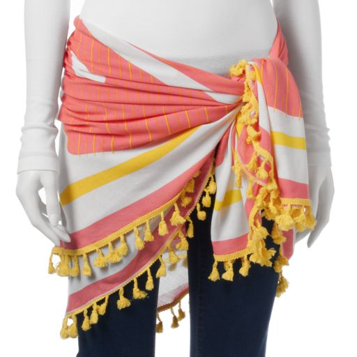 Women's Mudd® Tasseled Round Festival Wrap with Pouch