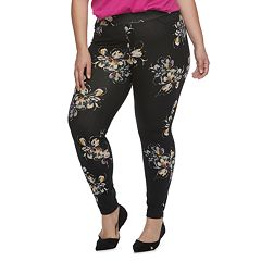 Plus Size Utopia by HUE Fused Floral Print Jean Leggings