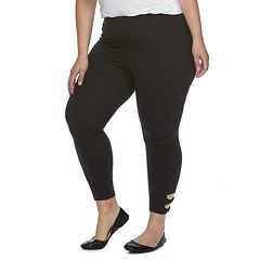 Plus Size Utopia by HUE Wide Waistband Twisted Strap Skimmer Leggings