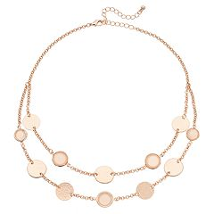Disc Double Strand Station Necklace
