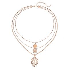 Filigree Leaf Multi Strand Necklace