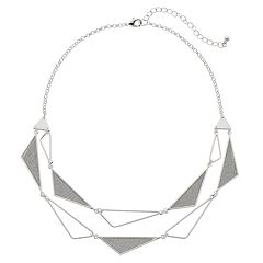 Silver Tone Glittery Triangle Statement Necklace