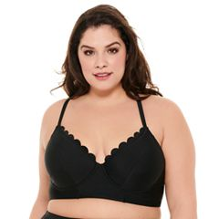 Plus Size Costa Del Sol Scalloped Swim Crop Top