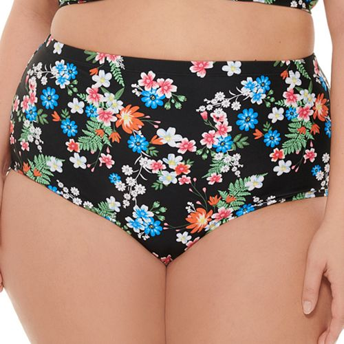 Plus Size Costa Del Sol Scalloped High-Waisted Bikini Bottoms