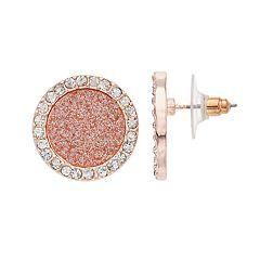 Glitter Rose Gold-Tone Stud Earrings