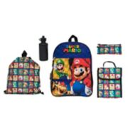 Kids Nintendo Mario Backpack, Cinch Sack, Lunch Bag, Zip Pouch & Water Bottle Set