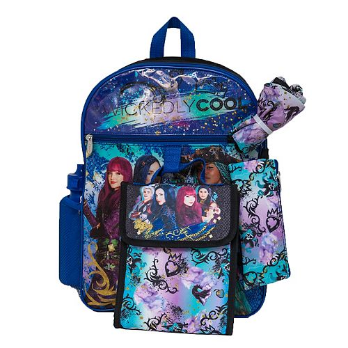 Disney's Descendants Kids Backpack, Cinch Sack, Lunch Bag, Zip Pouch & Water Bottle Set