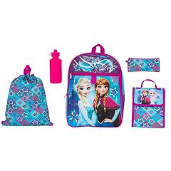 Disney's Frozen Anna & Elsa Kids Backpack, Cinch Sack, Lunch Bag, Zip Pouch & Water Bottle Set
