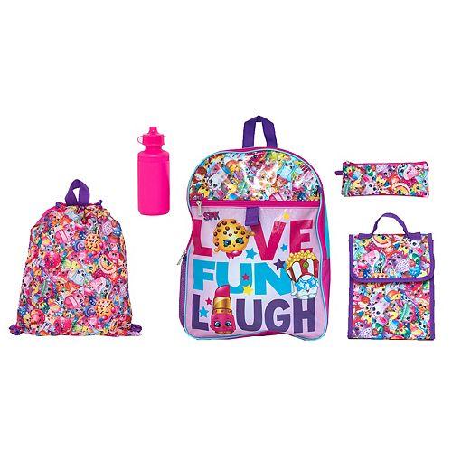 Kids Shopkins Backpack, Cinch Sack, Lunch Bag, Zip Pouch & Water Bottle Set