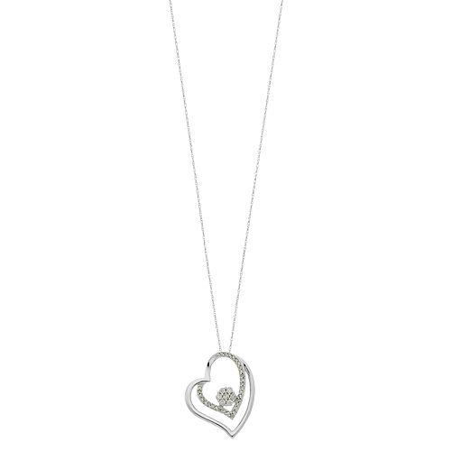 10k White Gold 1/4 Carat T.W. Diamond Double Heart Pendant Necklace