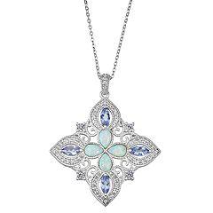 Sterling Silver Tanzanite & Lab-Created Opal Pendant