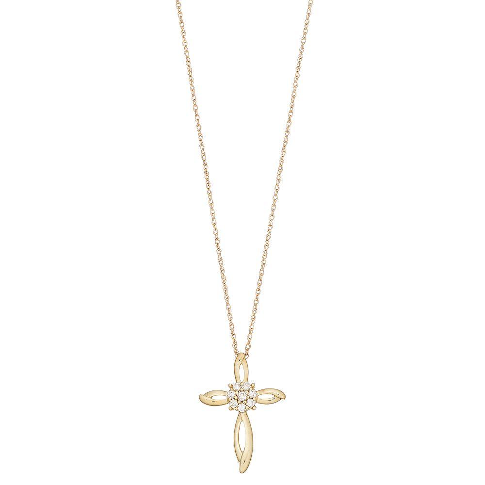 10k Gold 1/10 Carat T.W. Diamond Cross Pendant Necklace