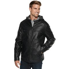 Big & Tall Levi's Faux-Leather Hooded Racer Jacket