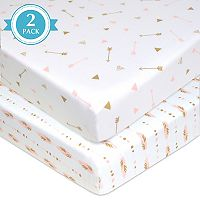 TL Care 2-Pack Printed Knit Fitted Portable/Mini Crib Sheets