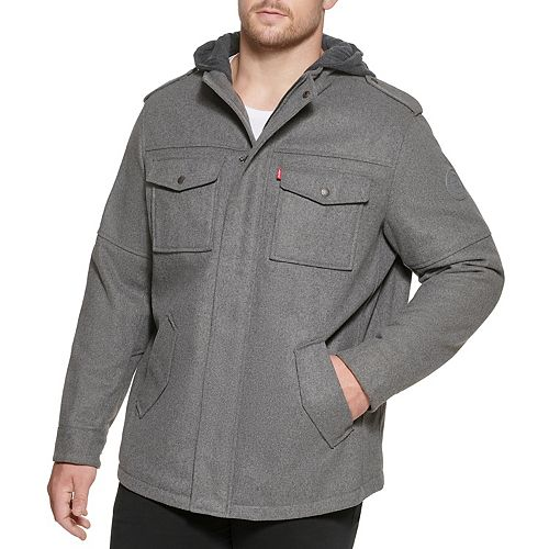 Big & Tall Levi's Wool-Blend Hooded Four-Pocket Military Jacket