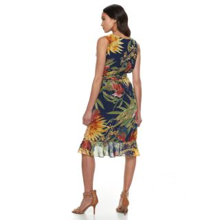 Petite Sangria Tropical Print Midi Dress